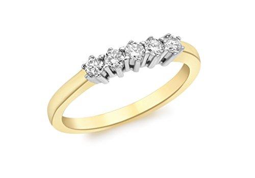 Jewellery World Bague en or jaune 9carats avec diamant 0,25carat-5pierre