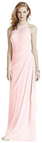 Neckline Petal (David's Bridal Long Mesh Bridesmaid Dress With Illusion Neckline Style F15662, Petal, 28)