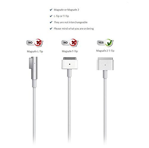 Macbook Pro Charger, 85W Magsafe 2 T-Tip Power Adapter Charger for Mac Book Pro 13 inch/15 inch/17inch by Bennett LTD (Image #3)'