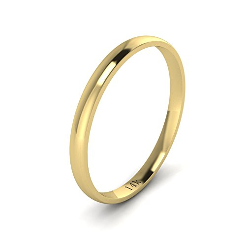 Unisex 14k Yellow Gold 2mm Light Court Shape Comfort Fit Polished Wedding Ring Plain Band - Gold Ring Claddagh Yellow Ladies