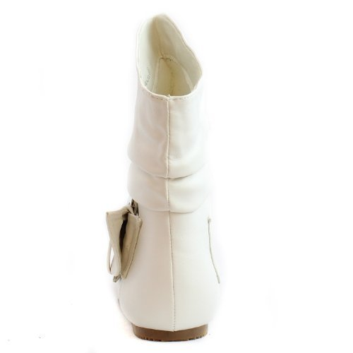 Top Moda Women's Pad-52 White Leather Ankle Booties, White PU, 9