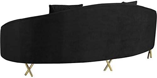 Meridian Furniture Serpentine Collection Modern | Contemporary Velvet Upholstered Sofa