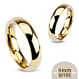 4MM Stainless Steel Yellow Gold Plated High Polished Comfort Fit Traditional Dome Wedding Ring -Crazy2Shop