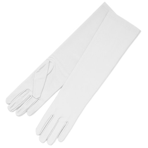 ZaZa Bridal 4-Way Stretch Matte Finish Satin Dress Gloves Below-The-Elbow Length-Diamond White -