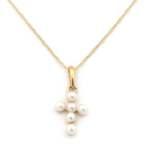Beauniq 14k Yellow Gold White Round Freshwater Cultured Pearl Cross Pendant Necklace - 18