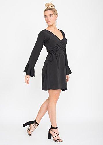 Wickelkleid mit Glockenärmeln, schwarz