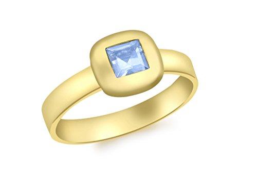 Bague Or jaune 9carats avec Topaze carrée Bleu Suisse