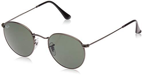 Ray-Ban RB3447 Round Metal Sunglasses, Matte Gunmetal/Green, 50 mm (Kinder Rayban)