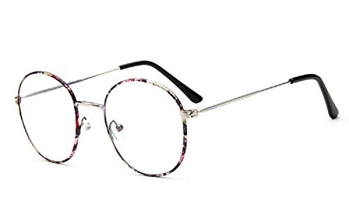Unisex SLD9728 Classic Metal Thin Frame Rim Round Eyeglasses Small Size (Floral, - Prescription Glasses Zero