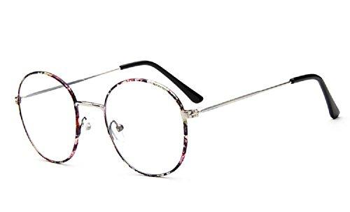 Unisex SLD9728 Classic Metal Thin Frame Rim Round Eyeglasses Small Size (Floral, - Frames Zero Glasses