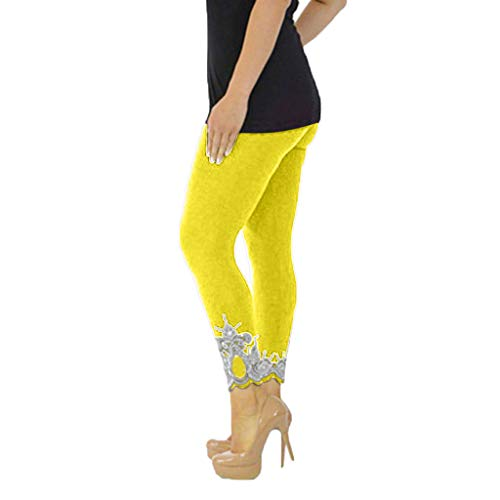 AOJIAN Leggings for Women, Yoga Pants Soft Mid Hollow Out Trousers Jogger Workout Running Sports Capri Yellow