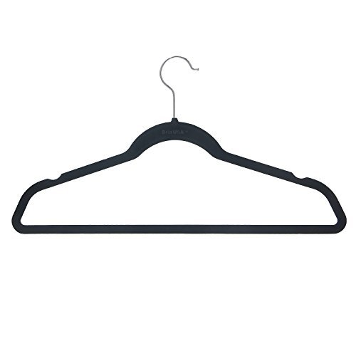 BriaUSA Velvet Suit Hangers Multipurpose Slim with Notched Shoulders & Swivel Chrome Hooks – Black – Box of 20
