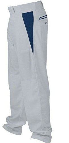 Rawlings Men's Relaxed Fit V-Notch Insert Baseball Pant, Blue Grey with Navy Insert, X-Large