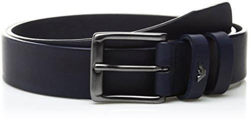 Armani Exchange Men's Small Eagle Leather Belt, Blue, 31