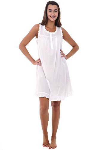 Del Rossa Womens 100% Cotton Lawn Nightgown, Sleeveless Chemise, Large White (A0580WHTLG)
