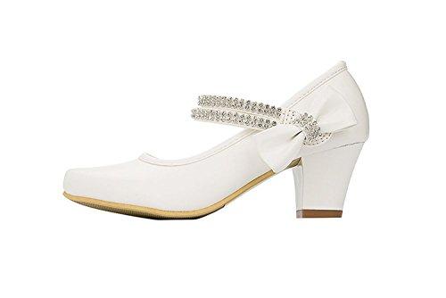 Big Kids First Communion Wedding Girls Dress Shoes Ivory Child Mary Jane Hill Rhinestones Strap Velcro Size4