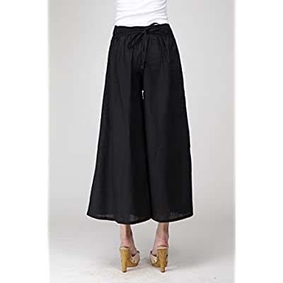 MIEIER Womens Elastic Waisted Embroidery Loose Wide Leg Pants Culottes-Black at Women's Clothing store