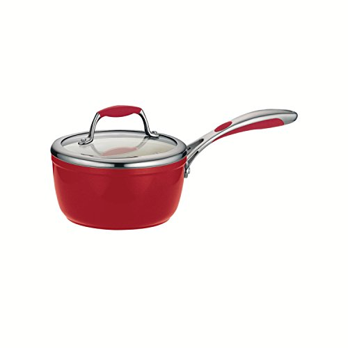 Tramontina 80110/062DS Gourmet Ceramica 01 Deluxe Covered Sauce Pan, 1.5-Quart, Metallic Red