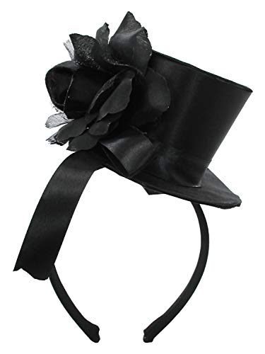 (Black Mini Top Hat Rose Lolita Goth Widow Adult Women's Costume Accessory)