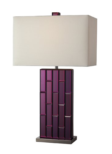 Dimond D2162 16-Inch Width by 27-Inch Height Avalon Table Lamp in Purple Mirror and Black Nickel with Off- White Faux Silk Shade (Avalon Piano)
