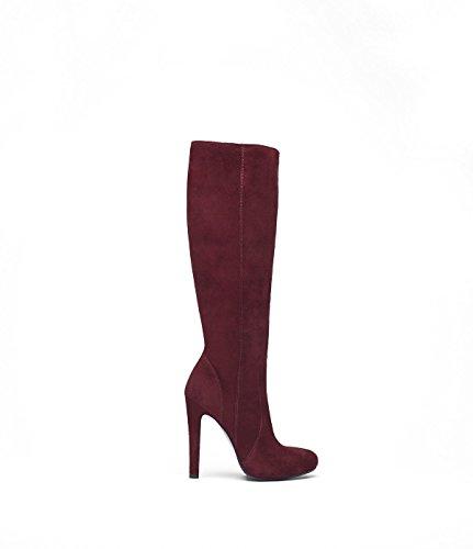 Poi Lei PoiLei Olivia - Damen-Schuhe/Eleganter High-Heel Langschaft-Stiefel Aus Velours-Leder - Spitz-Zulaufend, mit Stiletto-Absatz und Schöner Zier-Naht - Bordeaux