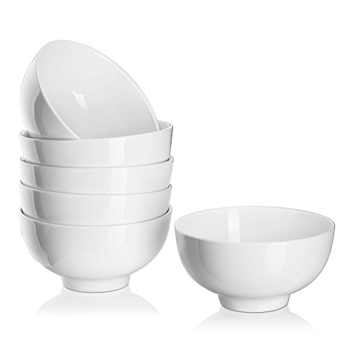 DOWAN 22 Ounce Porcelain Soup/Cereal Bowls - 6 Packs, (22 Ounce Bowl)