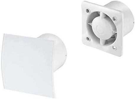 Extractor KW100 - Panel frontal de cristal para ventilador (100 mm, 4 cables, sensor de humedad), color blanco