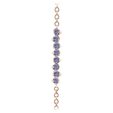 QP joailliers massif Tanzanite naturelle Bracelet en or rose 9carats, 1,55carat rond coupe-5086r