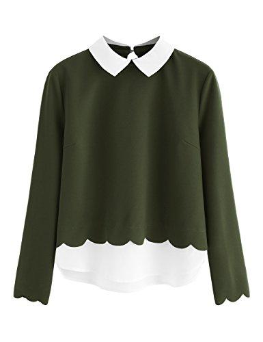 Floerns Women's Contrast Collar Hem Long Sleeve Blouse Top Green S