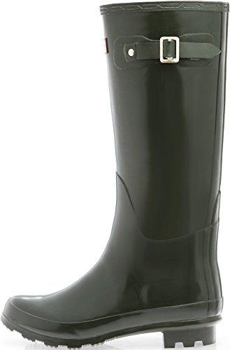 SNRD-301 Fashion Waterproof Wellington Women Rain Boots Darkolive FYtUf