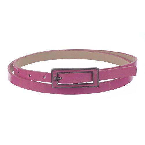 Pink D-ring Belt - Xcessoire Womens Skinny Leather Belt with Matching Square Belt Buckle - Solid Color PU Leather Belts (Large, Fuchsia)