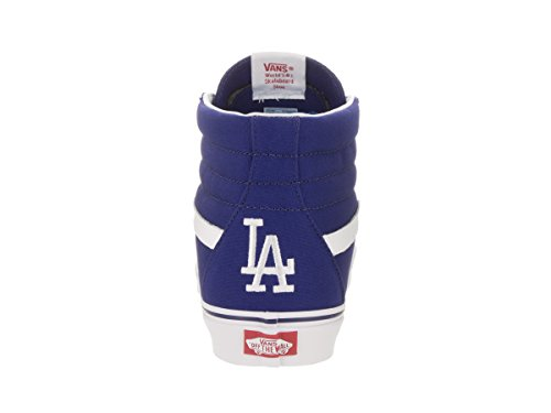 VANS Unisex Sk8-Hi Skate Shoes, Lace-Up High-Top Style in Durable Canvas and Suede Uppers, Supportive and Padded Ankle in Vans Vulcanized Signature Waffle Outsole Los Angeles Dodgers Blue