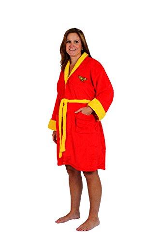 [Robe Factory Women's DC Wonder Woman Cotton Robe, Red, OS] (Wonder Woman Robe)