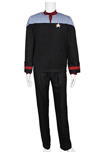 CosplayNow Star Trek Nemesis Voyager Sisko Cosplay Costume Black M (Star Trek Voyager Costume)