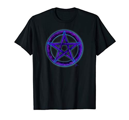 Wicca pentacle purple and blue T shirt by Mortal Designs ()
