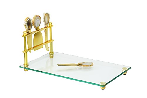Gorgeous and Elegant Cheese Board & Cutlery Set, Fancy Glass Cheese Board Bread Tray and Gold-Plated Knife Tool Set with Agate Stone Handles, 8