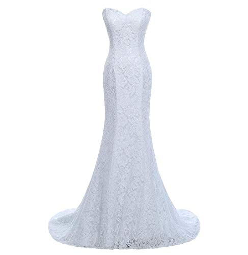 SIQINZHENG Women's Sweetheart Full Lace Beach wedding Dress Mermaid Bridal Gown, Ivory, 6 ()