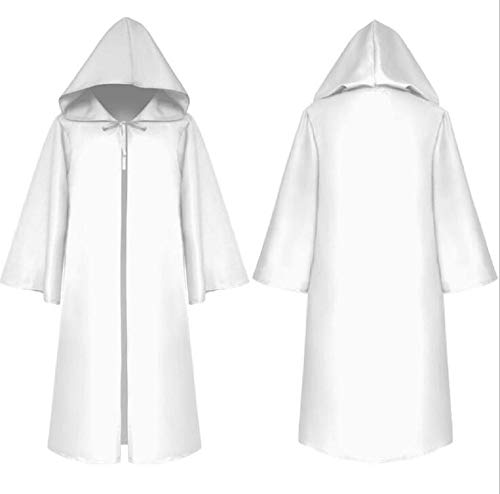 Amback Medieval Men Tunic Hooded Robe Cloak Knight Fancy Cool Cosplay Costume (XL(See The Size Chart), White) -