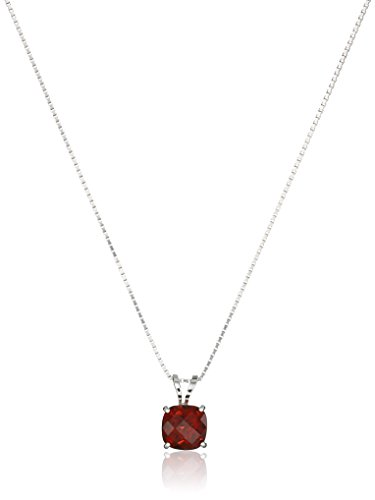 Sterling Silver Cushion Checkerboard Cut Garnet Pendant Necklace (6mm) (Garnet Cushion Necklace)