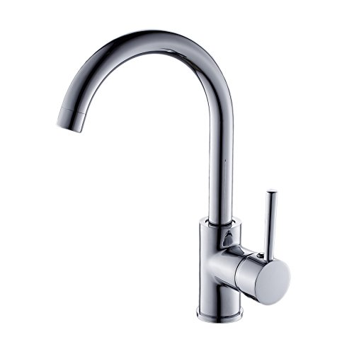 (OWOFAN Modern Single Handle Kitchen Bar/Prep Sink Faucet Hot and Cold Water Bathroom Faucet Brass Chrome Silver WF-7114L)