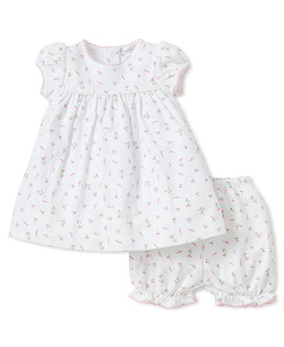 Kissy Kissy Baby Girls Garden Roses Print Dress With Diaper Cover,White,9mos
