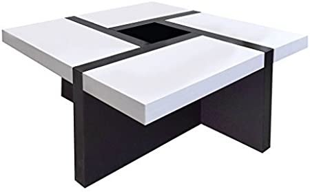 Rebecca Mobili Table Basse De Salon Blanc Noir Pour Decoration Moderne Salon Dimensions 35 X 80 X 80 Cm Hxlxl Art Re4010