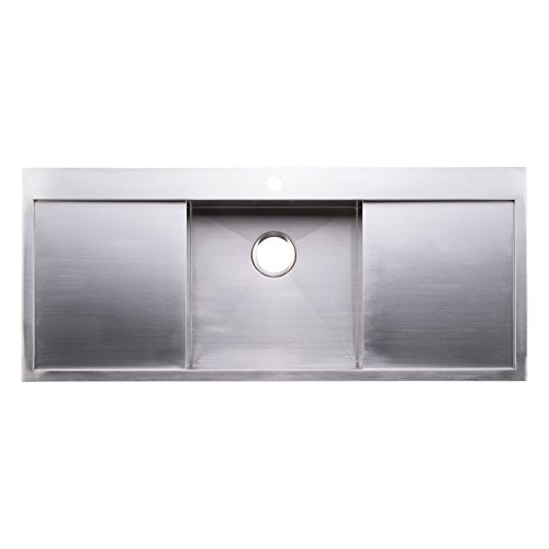 BAI 1237 – 48 Handmade Stainless Steel Kitchen Sink Single Bowl With Two Drainboards Top Mount 16 Gauge