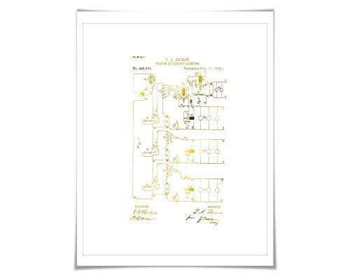 Electric Lighting System Patent Illustration 7 Foil Colours. Electrician Poster. Thomas Edison. Vintage ()