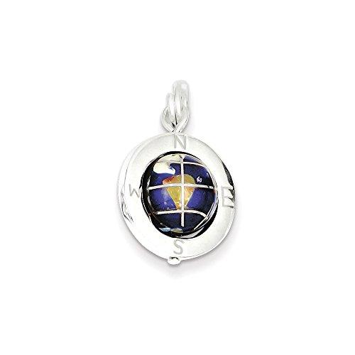 Enameled Globe Charm - Sterling Silver Enameled Globe Charm (20 x 17mm)