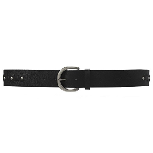 [Ralph Lauren Women's 1-5/8-in Woven Leather Belt with Brushed Silver Buckle and Studs, Black (Small)] (Lauren Ralph Lauren Leather C Buckle Belt)