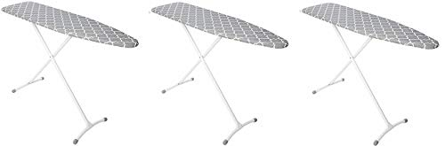 Homz Contour Steel Top Ironing Board, Grey & White Filigree Cover (3-(Pack))