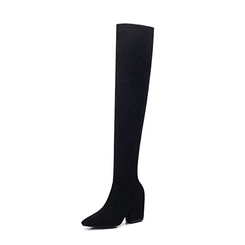 DecoStain Women's Over The Knee inside zipper Boots Black plFoV