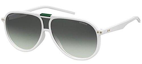 Polaroid 6025/S VK6 White Palladium Aviator Sunglasses Polarised Lens ()