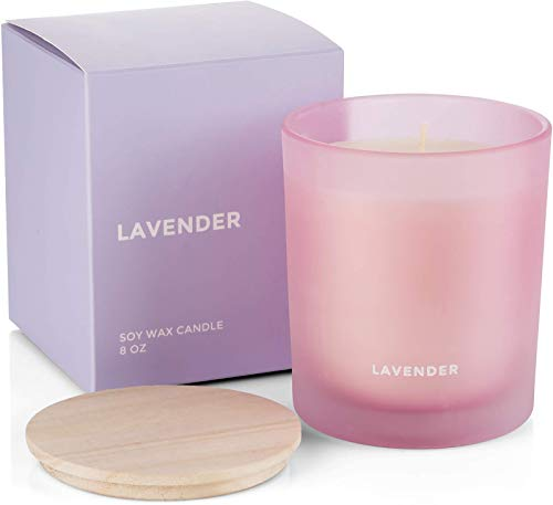 Venta Lavender Scented Soy Candle with Natural Say Wax for Aromatherapy Stress Relief Home Decor with Clean Fragrance and Decorative Jar (8 Oz Glass)